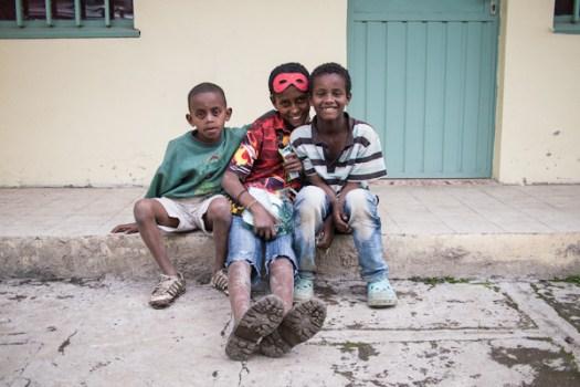 Ethiopian boys with food - Michael Gowin