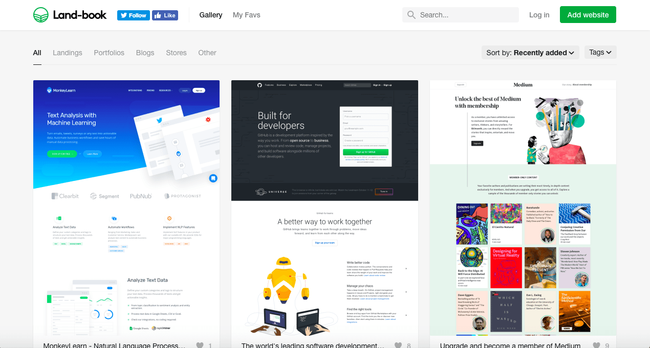 Land-book-best landing pages gallery