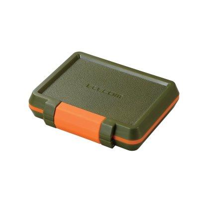 エレコム メモリカードケース SD8枚 MicroSD8枚収納 耐衝撃 カーキ
