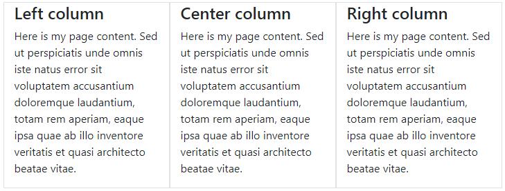 Three column layout