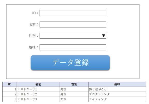 データ登録アプリのイメージ