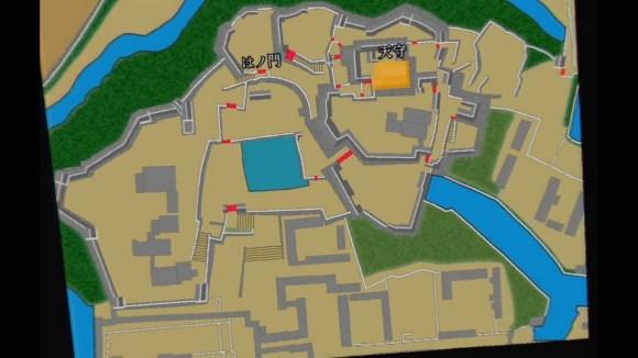 """△地図と一緒に城まわりの構造を解説してくれるなど、""""学習""""にも最適なVRとなっています。"""