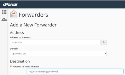 Add a New Forwarder in cPanel