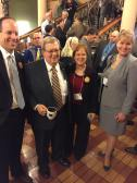 Representative Dave Heaton (Middle) with Andy Crozier (Central Lee), Laurie Noll (Fairfield), & Erin Slater (Fort Madison)