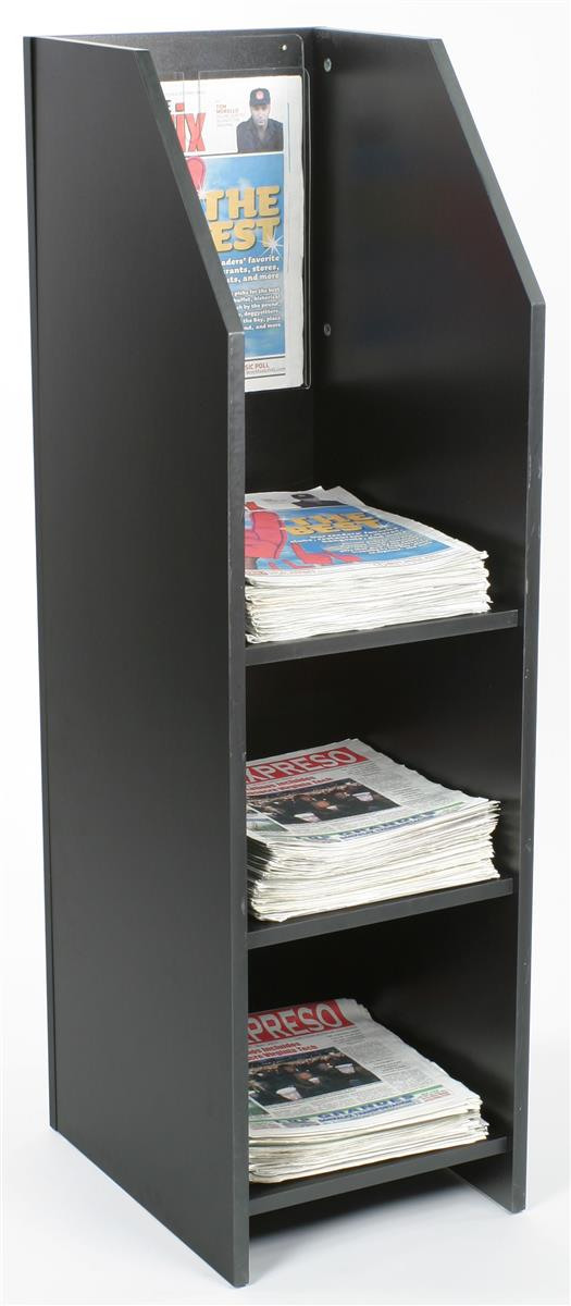 3 Shelf Wood Newspaper Stand 50 Tall To Be Easily Noticed