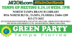 Green Party of Tampa Meeting 8-24-16