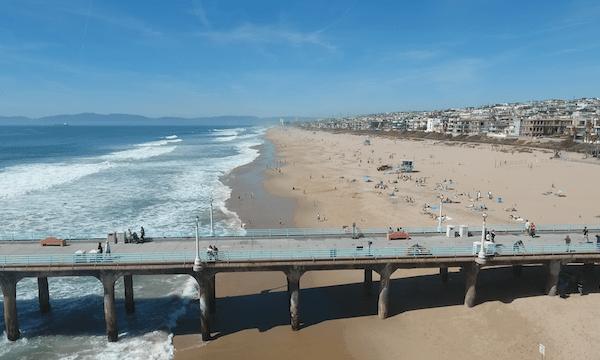 Manhattan Beach – Long Flight Along Shore Over Pier