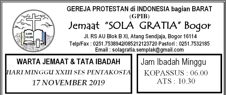 Warta Jemaat Minggu, 17 November 2019