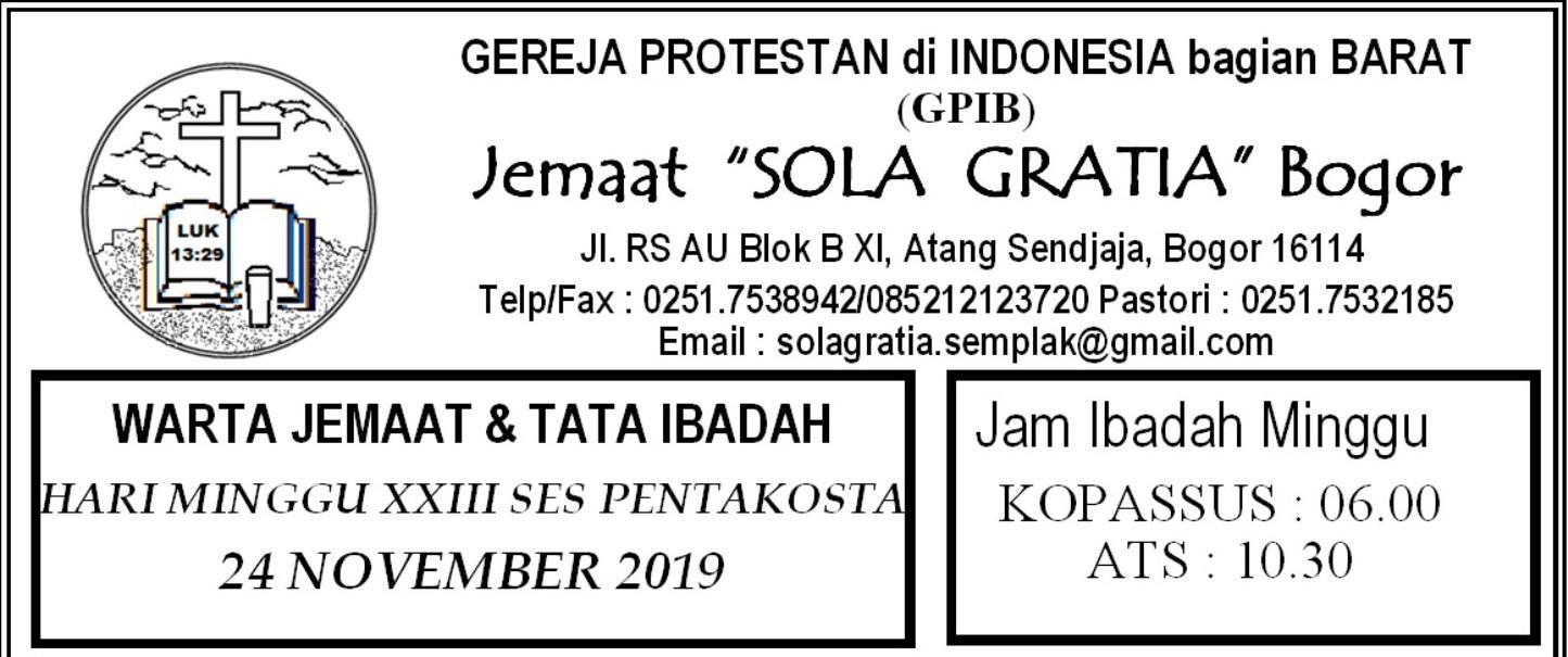 Read more about the article Warta Jemaat Minggu, 24 November 2019
