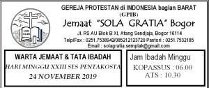 Warta Jemaat Minggu, 24 November 2019