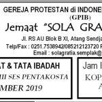Warta Jemaat Minggu, 08 September 2019