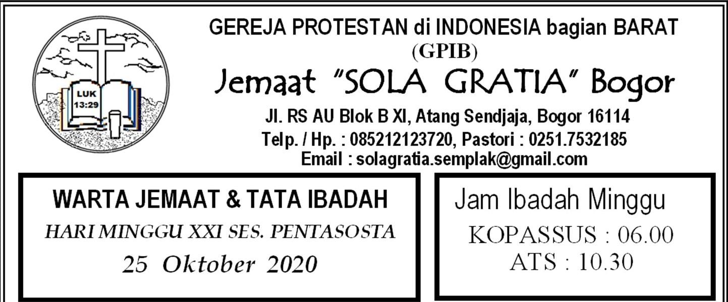 Warta Jemaat Minggu, 25 Oktober 2020