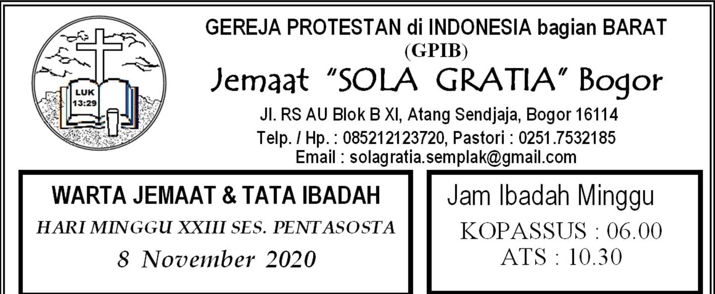 Warta Jemaat Minggu, 08 November 2020