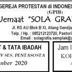 Warta Jemaat Minggu, 15 November 2020