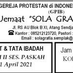 Warta Jemaat Minggu, 11 April 2021