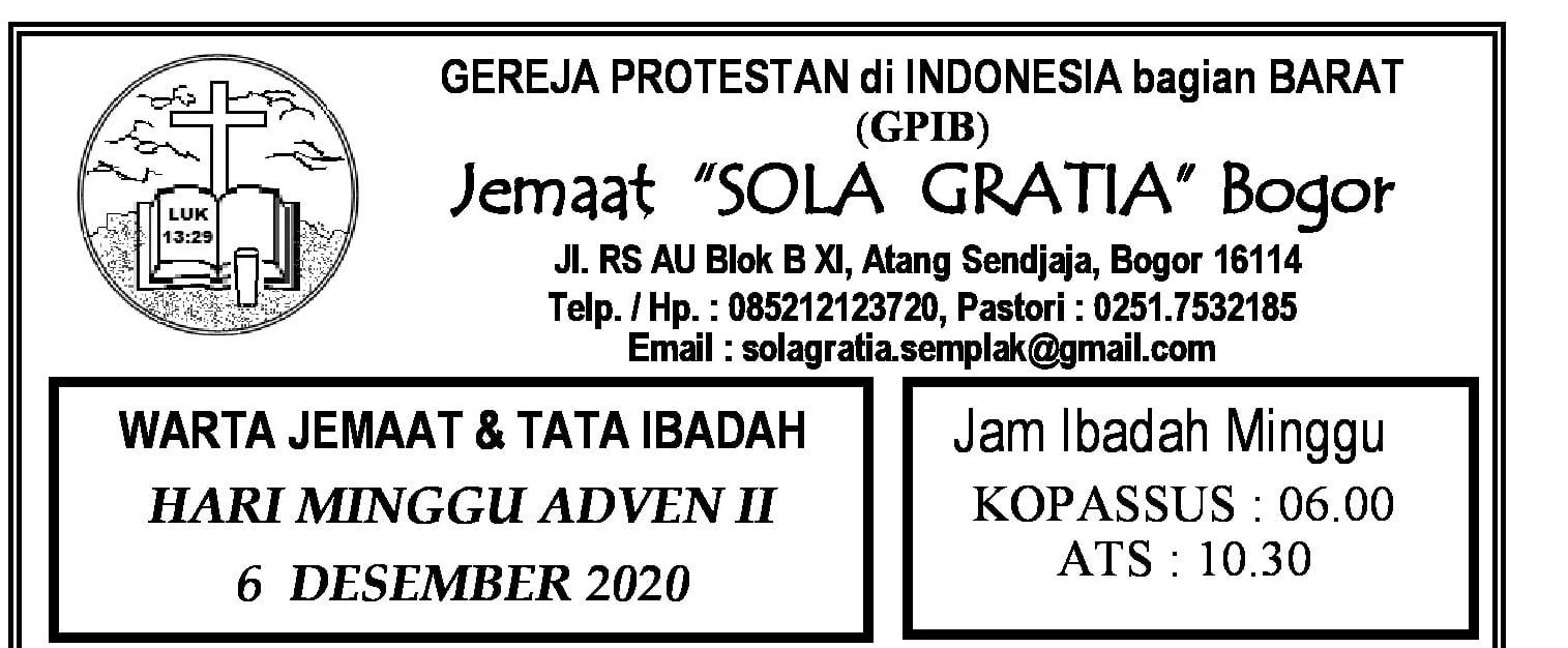 Read more about the article Warta Jemaat Minggu, 06 Desember 2020