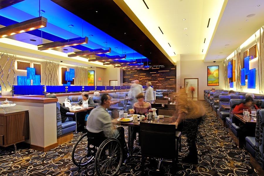Backlit Led Blue Resin Restaurant Wall Panels Gpi Design