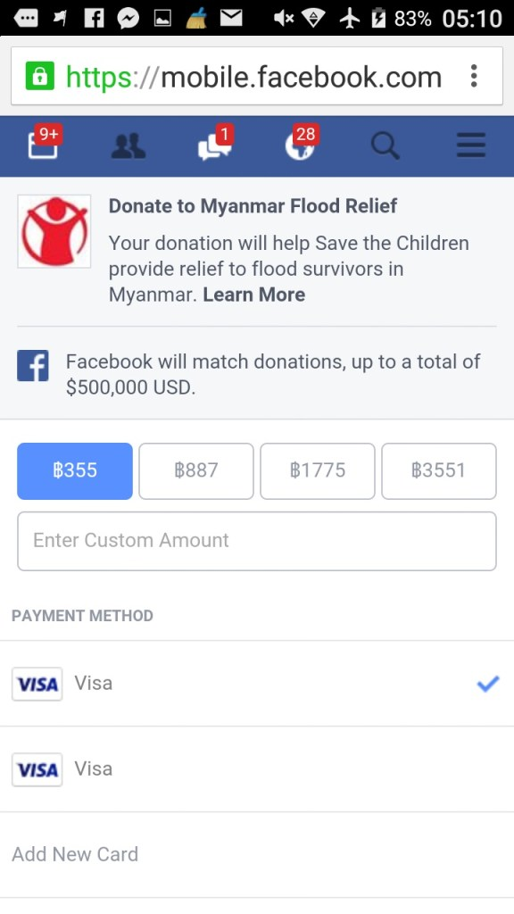 facebook-donate-myanmar