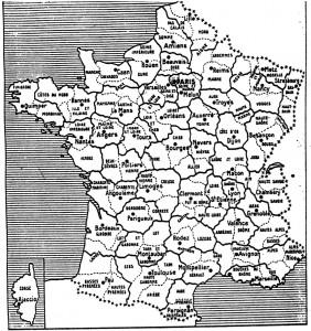 Carte départementale réalisée par Michel Debré en 1946. En traits pleins, le redécoupage prévu. En pointillés, les limites telles qu'elles le sont toujours.