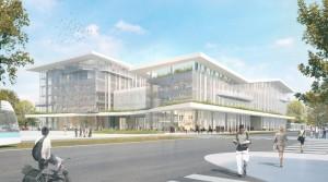 Campus Condorcet - vue en perspective parvis bibliotheque