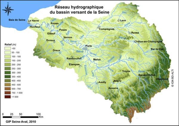 Réseau hydrographique du bassin versant de la Seine