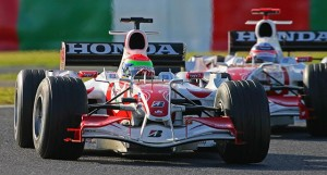 Yamamoto leads Sato at their (and the team's) home race at Suzuka. Sato would later finish two laps ahead of his team-mate.