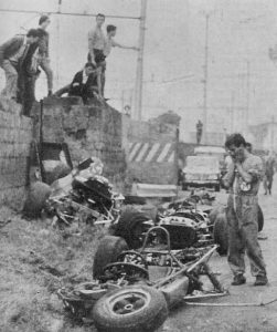 The aftermath of Geki's fatal accident at Caserta in 1967.