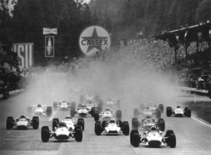 Chris Amon leads the way at the start of the 1968 Belgian Grand Prix, with a rear wing on his Ferrari. The beginning of an era.