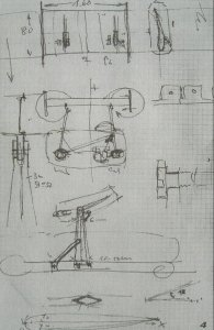 May's original sketch describing his concept for a centrally-mounted wing.