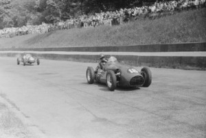 Leslie (right) leads John Barber at Crystal Palace in 1953. Later that day, Leslie had the heaviest accident of his career.