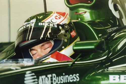 A fresh-faced Lotterer takes a snooze in the Jaguar R2.