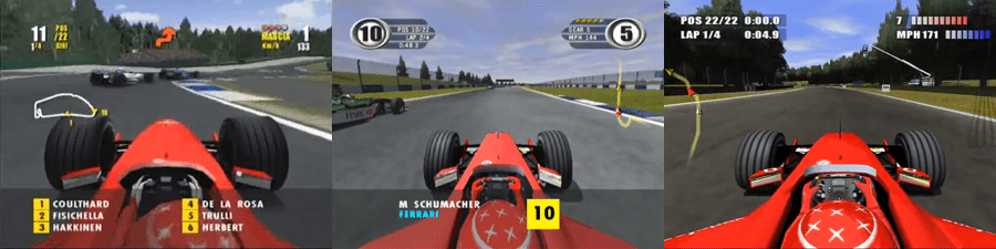 From left to right: EA's console versions of F1 2000, F1 2001 and F1 2002