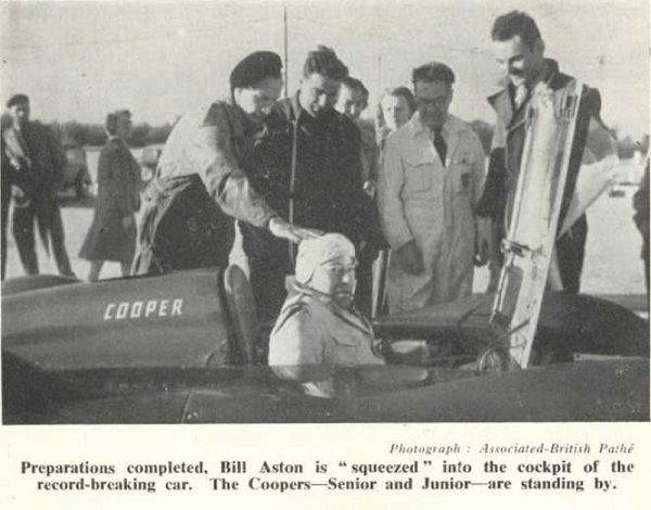 Newspaper clipping of Aston being squeezed - rather literally - into the cockpit of the record-breaking Cooper (Photo: 500 Owners Association)