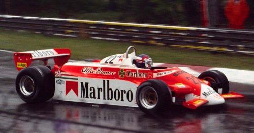 Patrick Depailler splashing his way towards yet another retirement, Belgium 1980 (AllRacingCars.com)