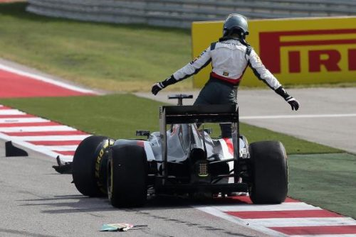 Sutil's great weekend in Texas came to a crunching halt on raceday.