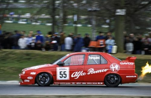 Gabriele on the absolute limit at Brands Hatch, grip-wise and rules-wise...
