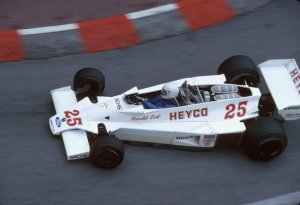 Harald sporting a white helmet at Monaco in 1977. By this point, his relationship with Hesketh was becoming strained.