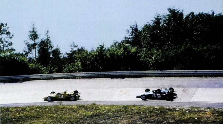 Ertl (#85) gives chase in a 1971 Formula Super Vee race at the Nürburgring. He remained a series regular until 1974.