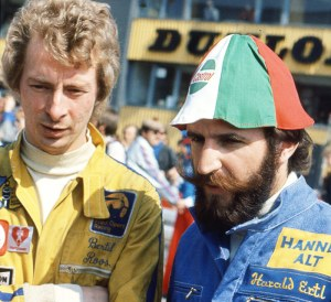 Harald and Bertil Roos look concerned in the F2 paddock. Results were hard to come by, prompting Harald to stay in F1.