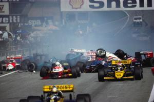 16 Aug 1987, Zeltweg, Austria --- Minardi team Formula One racecars narrowly miss involvement in an accident at the start of them Austrian Grand Prix. --- Image by © Schlegelmilch/Corbis