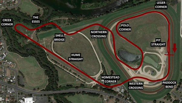 Drawn on a modern map, the old Warwick Farm track profile as it was approximately - though bear in mind that the surroundings have changed a bit