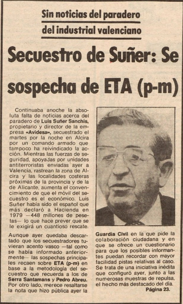 The kidnapping of Adrián's grandfather Luis Suñer was national news for three months in 1981.