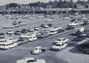 A black-and-white photo of the Oak Ridge mall