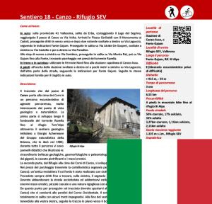 Descrizione sentiero Canzo - Rifugio SEV ITA
