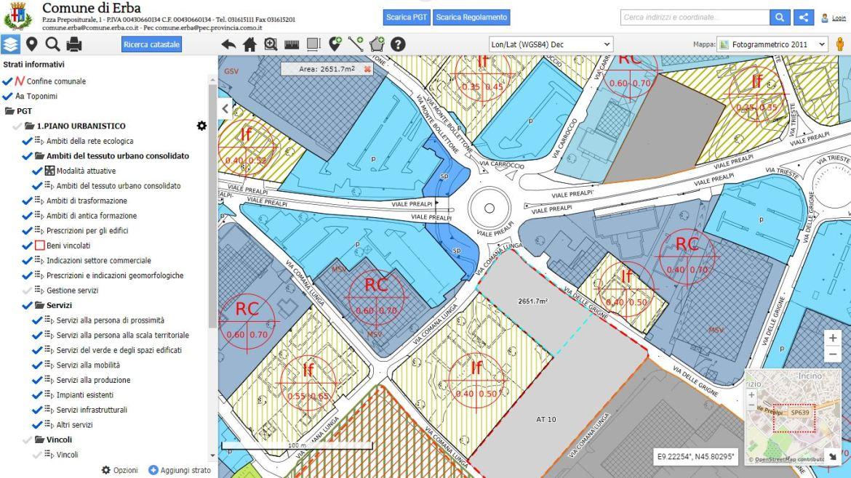 PGT Erba webeasy GIS funzioni aggiuntive