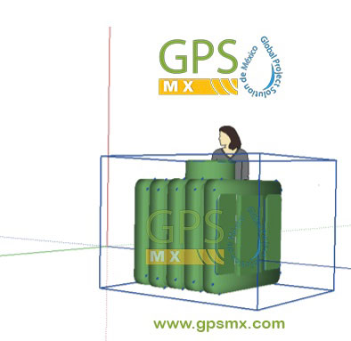 Dibujo 3d de Microplanta de tratamiento de agua residual Gpsmx 1 modulo