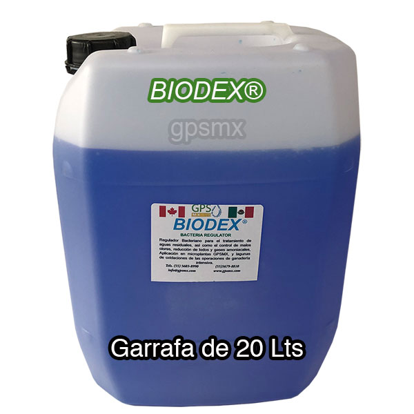 Garrafa de 20 Lts de Biodex regulador bacteriano para planta de tratamiento de agua residual