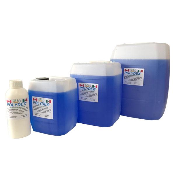 Presentaciones 2 Polydex® Algicida Bactericida y Fungicida para el tratamiento de agua potable en embotelladoras, estanques, piraguas, lagunas, tanques de almacenamiento grado alimenticio, certificado NSF