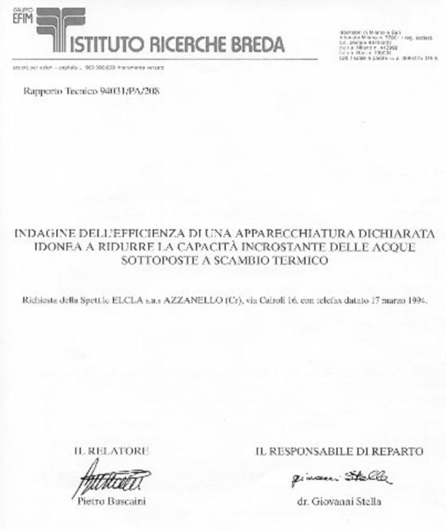 Elcla descalcificador magnético Elimina sarro ELCLA imagen certificado ISTITUTO RICERCHE BREDA