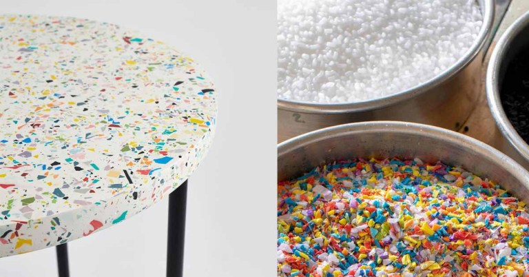Terrazzo-Inspired Side Table Made of Recycled Plastic by Floyd